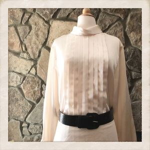 Pleat Fromt Vintage Blouse, Button Down Back, XL